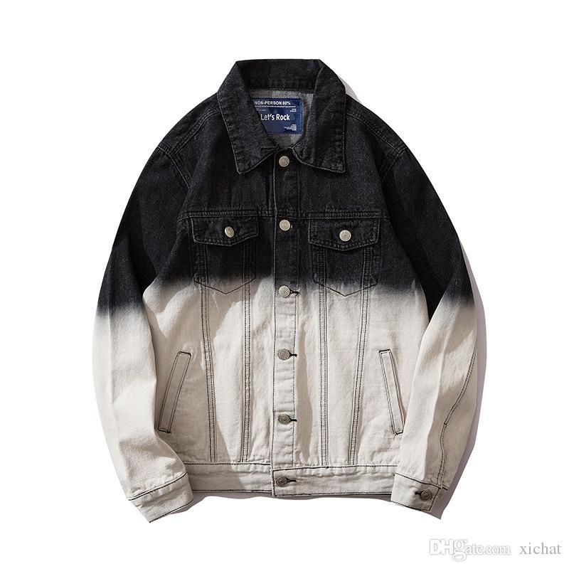 Benzersiz Erkek Tasarımcı Baskılı Denim Ceket Moda Slim Fit Streetwear Biker Motosiklet Epaulet Mavi Jeans Ceket Coat TM3507 Ripped