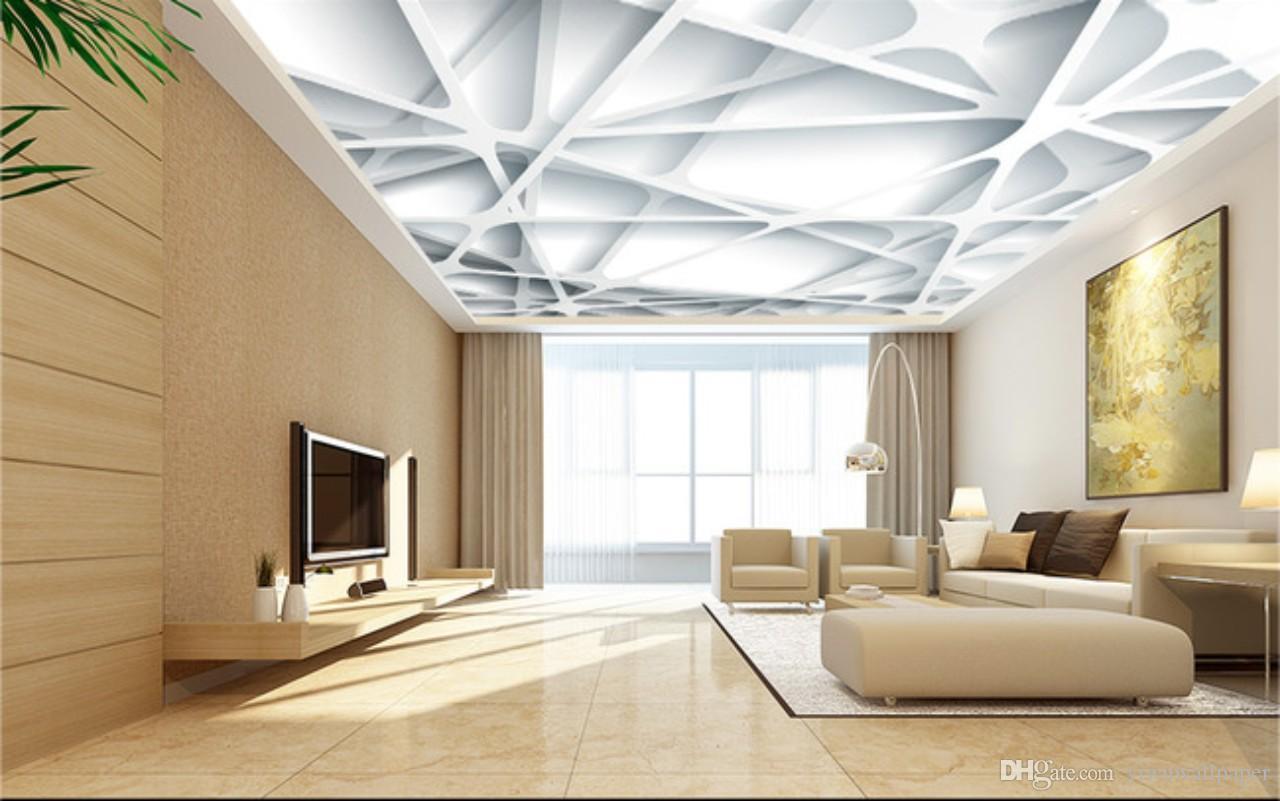 Papier peint plafond Peintures murales Salon Chambre Plafond mural Décor géométrique plafond 3D