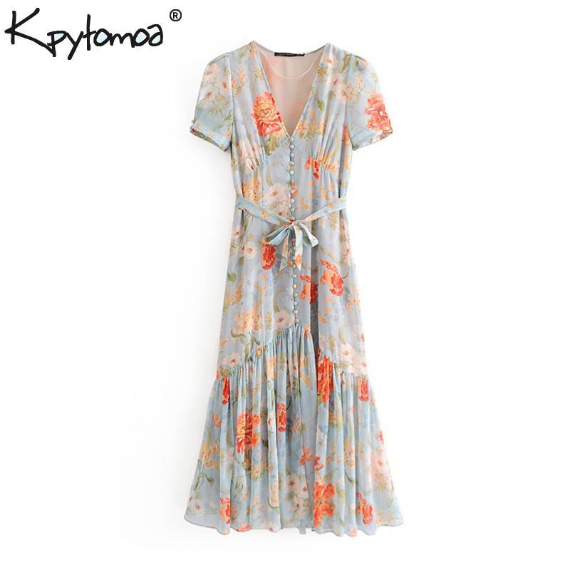 Vintage Stylish Floral Print Pleated Chiffon Midi Dress Women 2019 Fashion V Neck Bow Tie Sashes Dresses Casual Femme Vestidos J190714