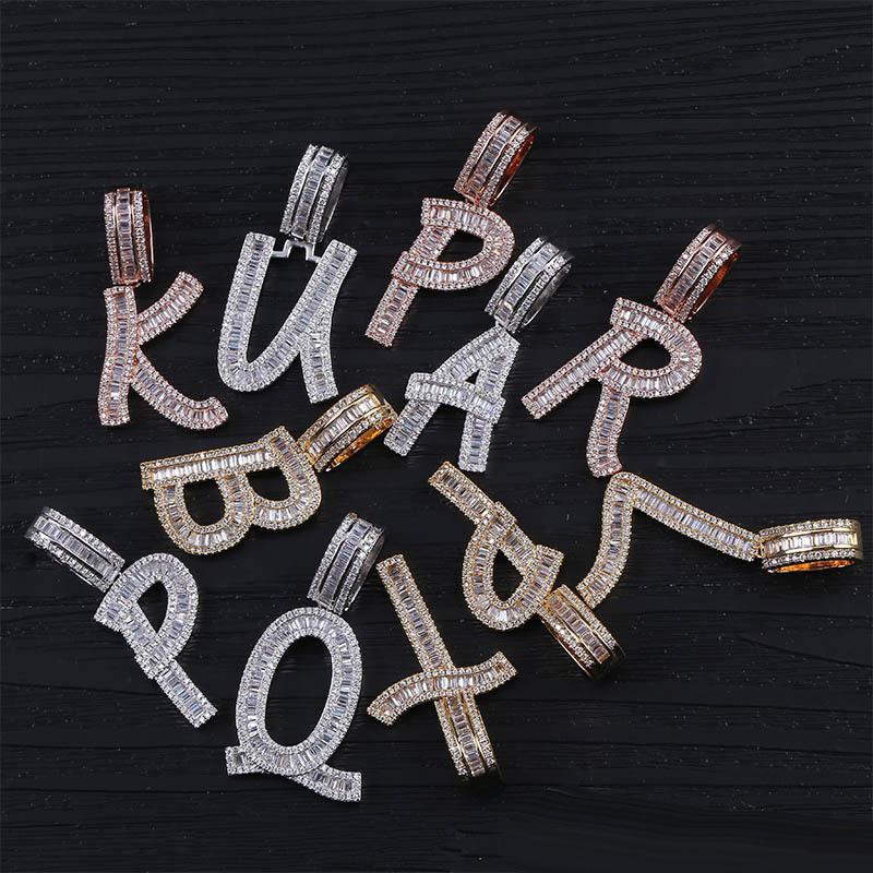 Buzlu Out 26 Mektupları Hip Hop kolye zinciri Altın Gümüş Rose Gold Bling Zirkonya Erkekler Hip Hop Kolye Takı
