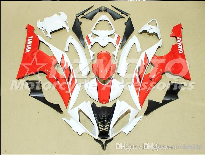 4 Free Gifts New Injection ABS Fairing kits 100% Fit for YAMAHA YZFR6 08 09 10 11 12 13 14 15 YZF R6 2008-2015 YZF600 set White Red CX5