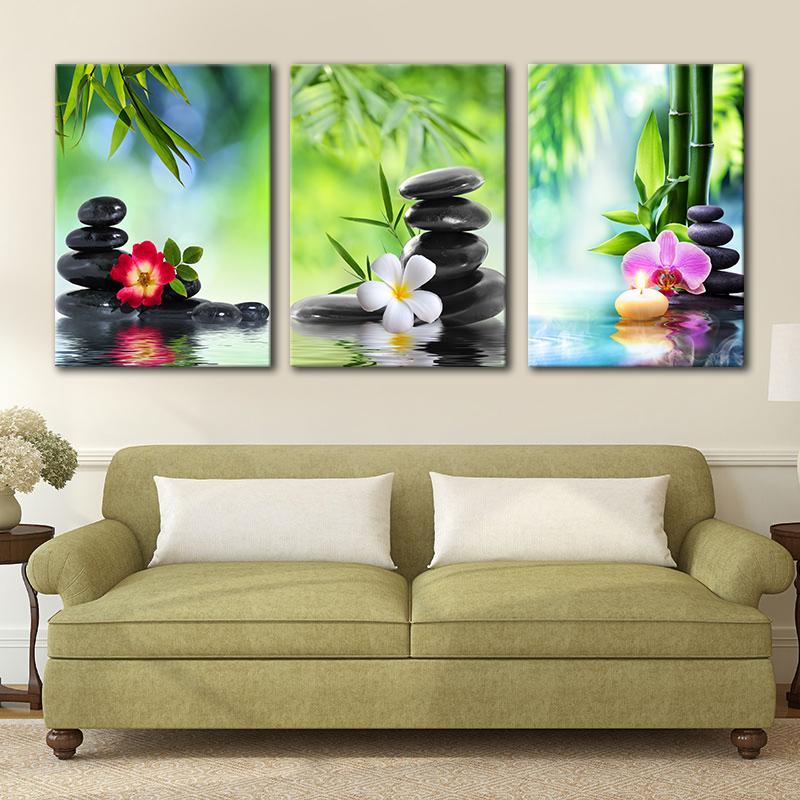 SPA 스톤 그린 대나무 난초와 프랜지 그림 캔버스에 벽 아트 액자 현대적인 장식 회화 없음 프레임 예술 없습니다