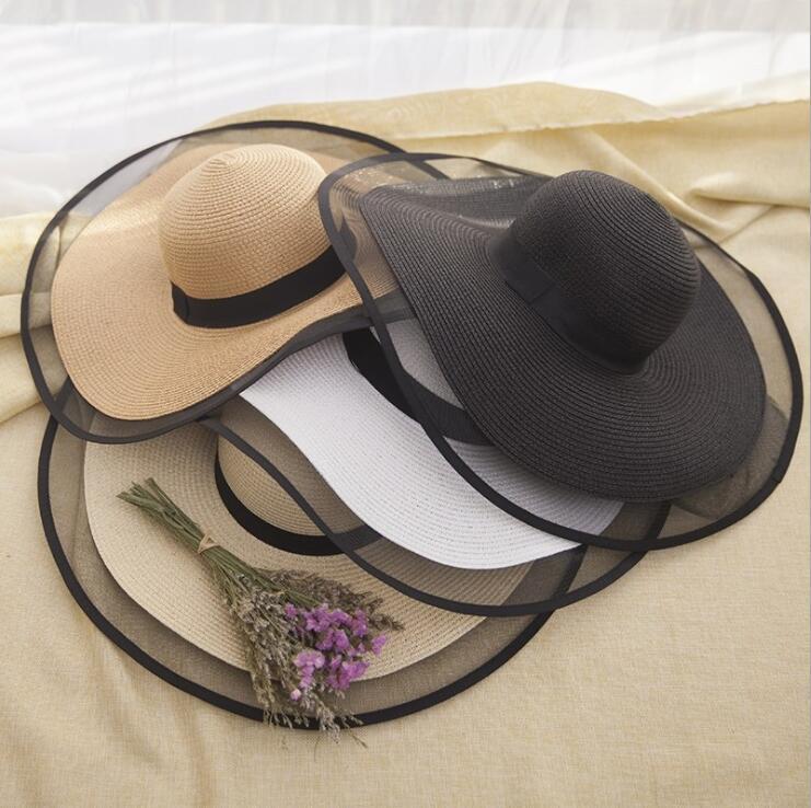 Sommer Wide Brim Strohhut Big Sonnenhut für Frauen UV-Schutz Panama schlaffen Strand Hüten Damen Bogen-Hut Sonnenschutz Urlaub Reise Hut