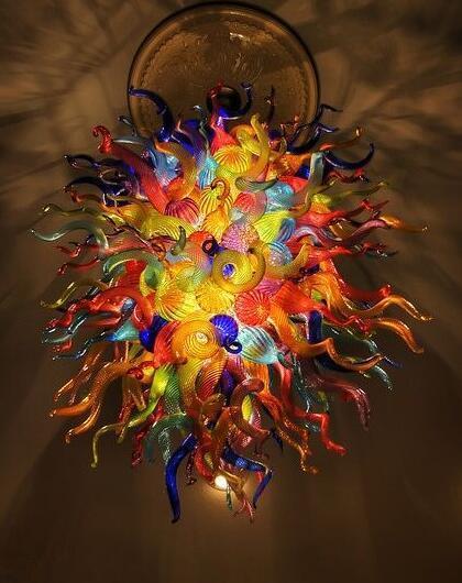 Çok Renkli El Murano Cam Avize kolye Lambalar Ev Villa Tarzı Modern LED Kristal Avize Aydınlatma Üflemeli