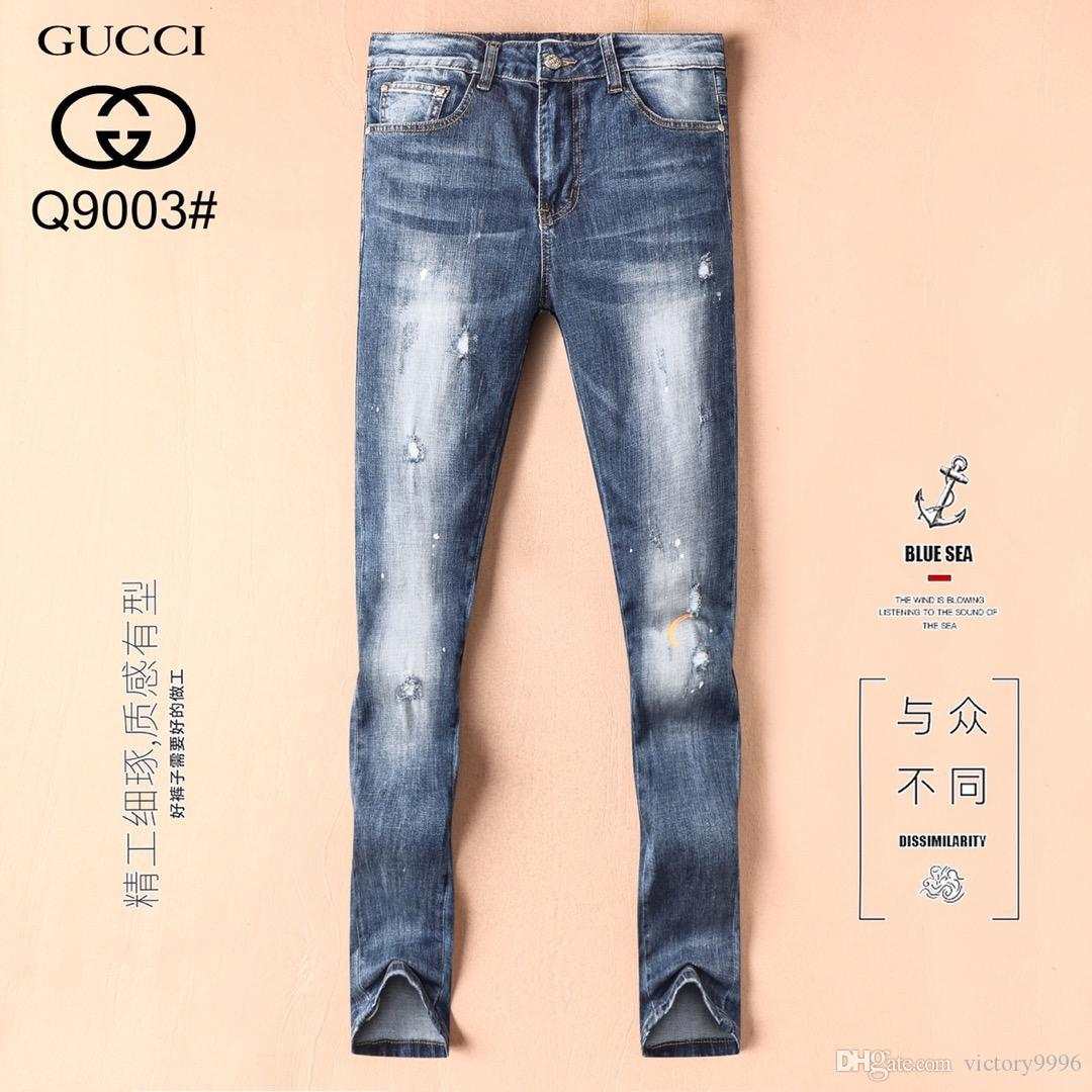 2019 style Luxury summer fashion men's jeans stretch fabric slim high-grade recycled water simple generous casual style sz 29-38