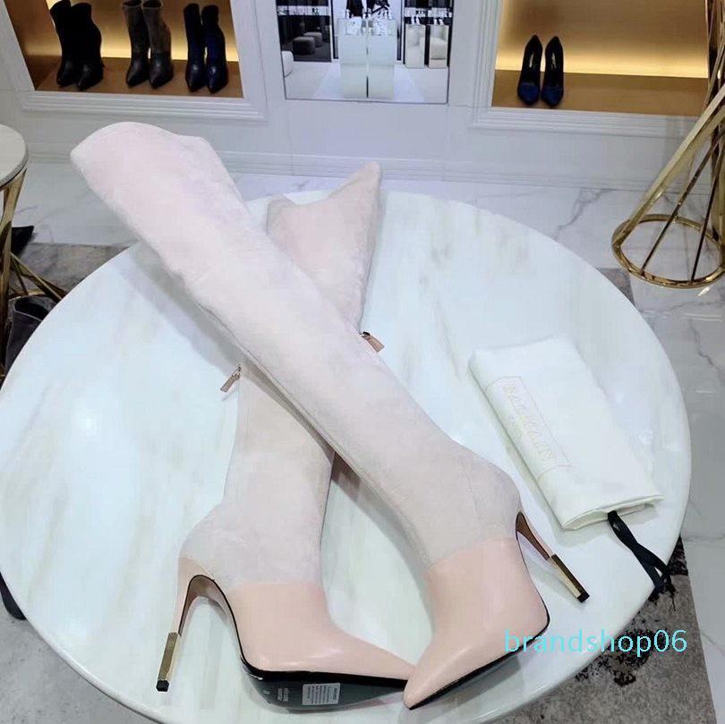 Venta caliente de alta calidad de cuero real sobre la rodilla botas de fondo grueso zapatos elástico alto como para ayudar planas Sw Negro Marrón con cordones n0720