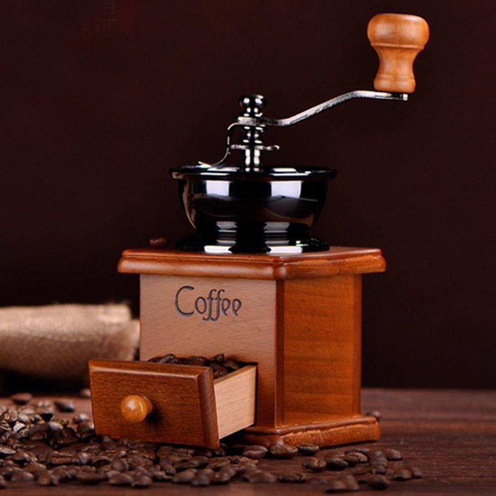 Classical manual de madeira moedor de café manuais de aço inoxidável Retro Coffee Spice Mini Burr Mills alta qualidade Grinder feijão moagem