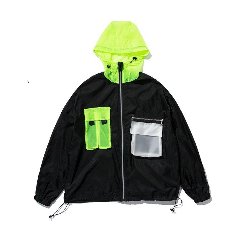 Мужская куртка 2019 весна-лето корейский стиль свободная молния черный белый ветровка улица верхняя одежда мода мужское пальто и куртка SH190906