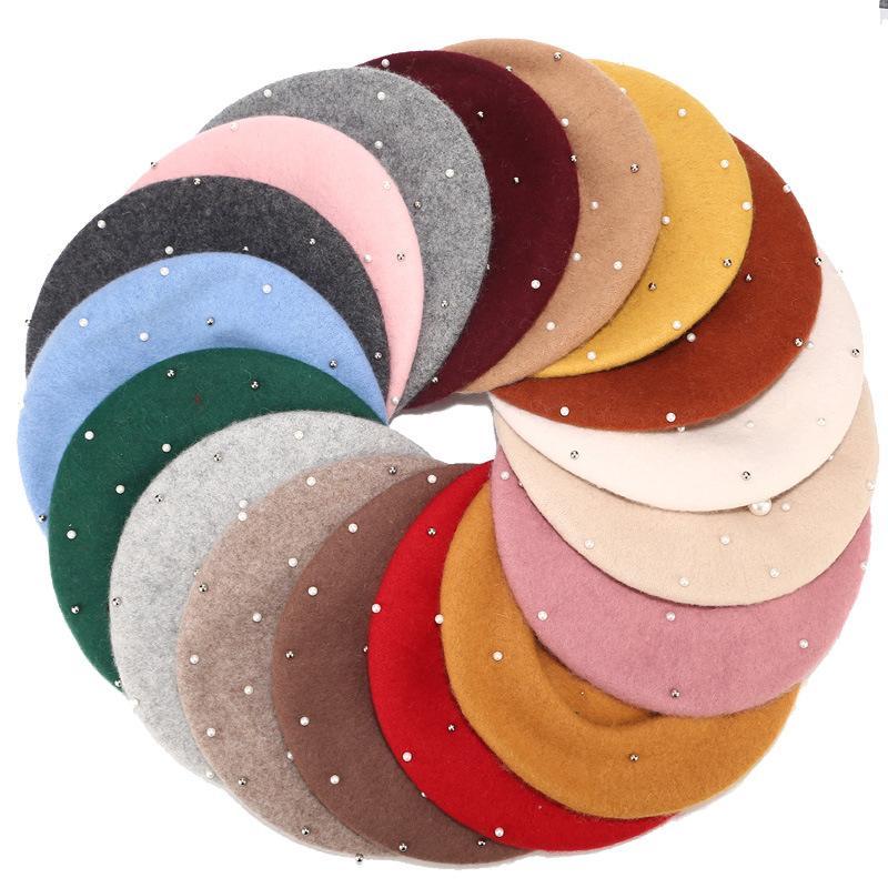 Laine femmes hiver bérets de luxe perle rivet vintage cachemire féminin chaud vogue béret chapeaux filles plate casquette béret pour femmes