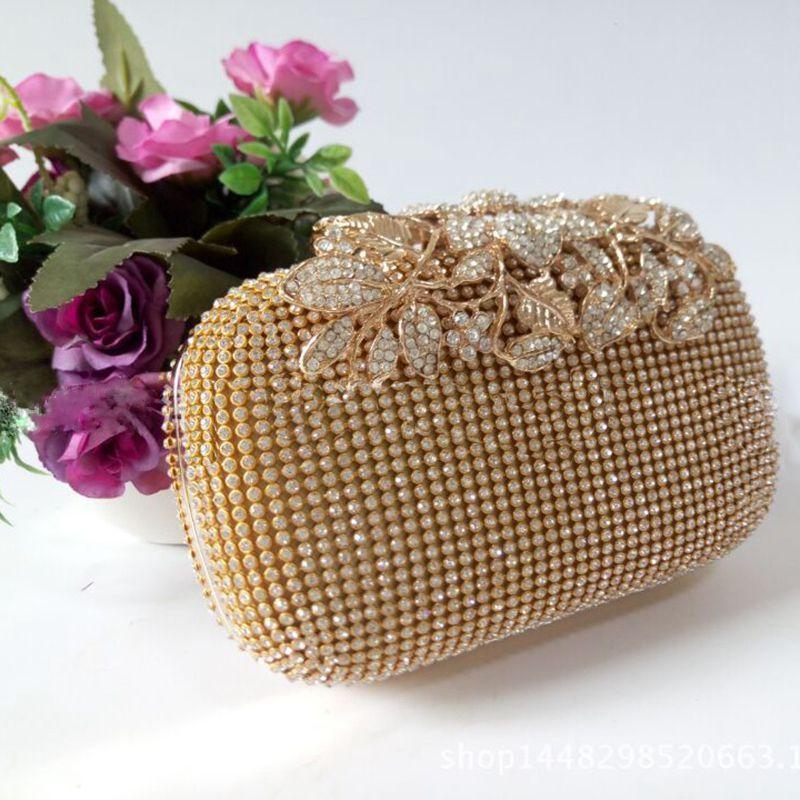 das mulheres Bolsas Bolsas de Ombro original do ouro strass noite saco de embreagem bolsa Bridal Party Prom Top-handle Bags