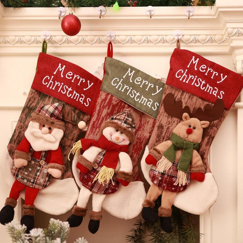 Weinlese-Weihnachtsstrumpf-Weihnachtsweihnachtsmann-Schneemann-Socken-Stoff-Weihnachtstaschen-Süßigkeits-Taschen-Dekorationen für Haus
