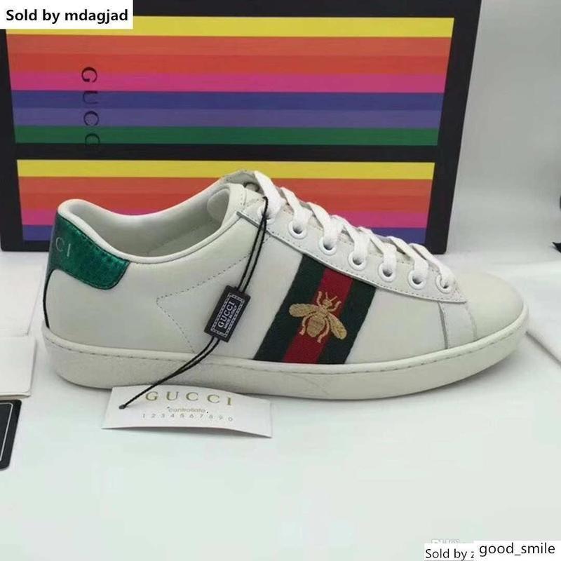 Ace bordado Sneaker Mens impressão do desenhista do couro Shoes Womens Lace Up Casual Plano Sneakers Web Striples Baixa Sbeakers Com Box