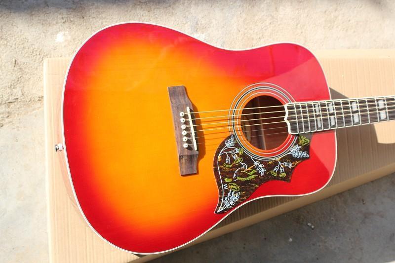 Sıcak Satış Toptan Özel Yüksek Kalite Kiraz Ladin Üst Gülağacı Klavye Akustik Gitar Çin Gitar Ücretsiz Kargo Burst