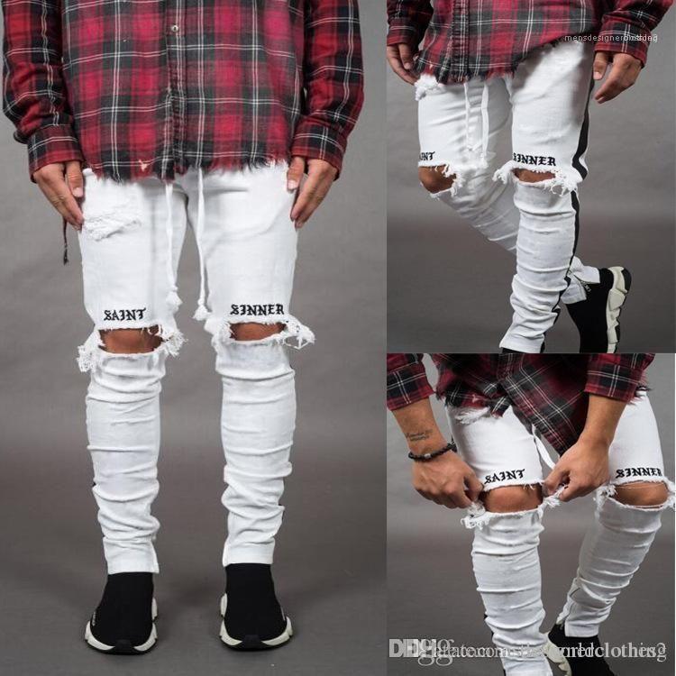 Pantaloni della matita dimagriscono Rappresentare Holes Jeans Uomo Nuovo Jeans Bianco Nero Strappato a strisce Magro