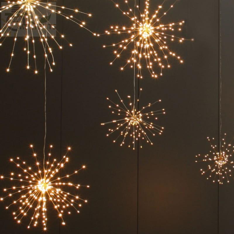 الألعاب النارية سلسلة الأنوار الشمسية 200 LED مصباح للطاقة الشمسية 8 الوضع أضواء LED بعيد الضوء التحكم لحزب بار عيد الميلاد الديكور GGA2519N