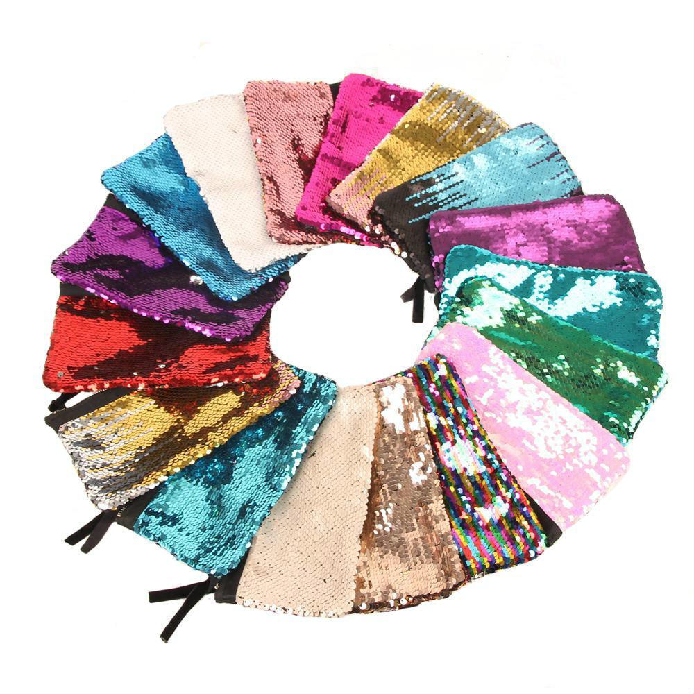 Fashion Bags Women Mermaid Makeup Bag Glitter Reversible Design Magic Sequin Cosmetic Bags Lady Handbag Girls Pencil Bag