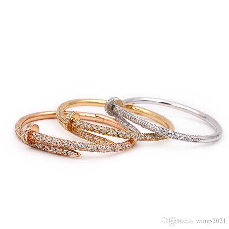 Designer Pulseiras mulheres TitaniumCartierRose ouro 316L pulseira de aço inoxidável pulseira de diamante de luxo de jóias mulheres nunca desaparecer