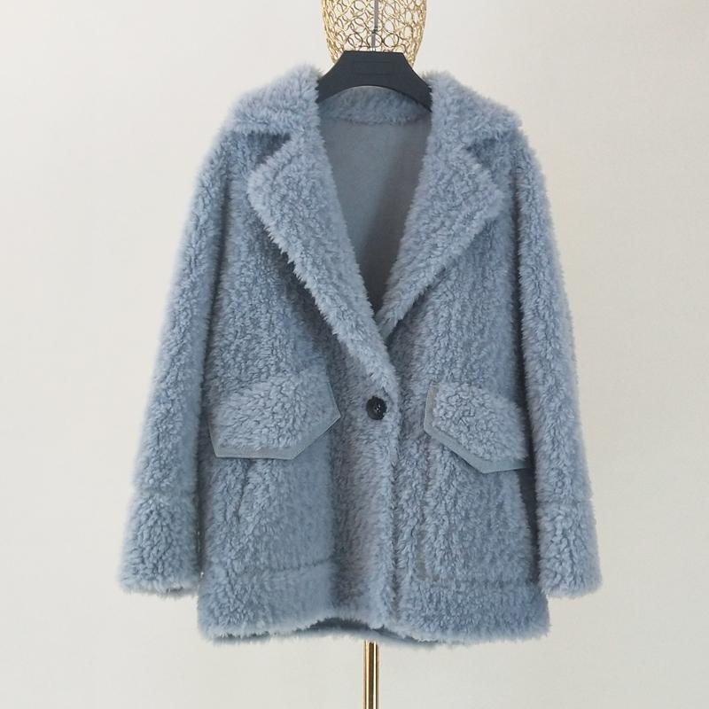 Манто фам пчеловод женская одежда 2019 новый Корейский 100% шерсть пальто костюм воротник утепленная имитация замши внутри плюс размер одежды