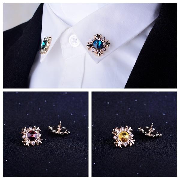 I-Ремиил Оригинал Мода кристалл мужского костюма украшение Pin отворот для женщин Rhinestone Броши Кнопки рубашки воротник аксессуары PRaWR
