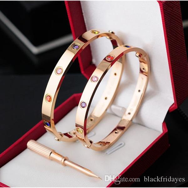 uomini in oro rosa d'argento in acciaio inossidabile cacciavite diamante ghiacciato fuori catene di lusso di design d'amore delle donne degli uomini gioielli bracciali bangle 2019