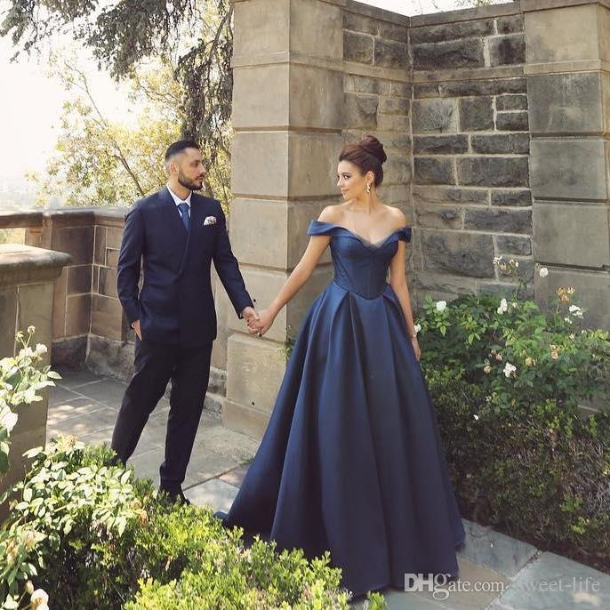 A Line Sexy Navy Satin Evening Dress Off the Shoulder Sleeveless Formal Party Gowns Elegant Floor Length Long Prom Dresses
