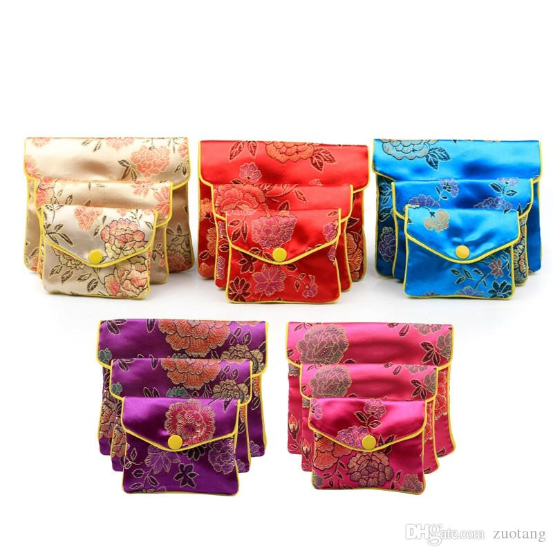 Small Zipper Coin Purse Pouches Gift Bags for Jewelry Chinese Silk Pouches Credit Card Holder Women Bag Wholesale 8x10cm 10x12cm 120pcs/lot