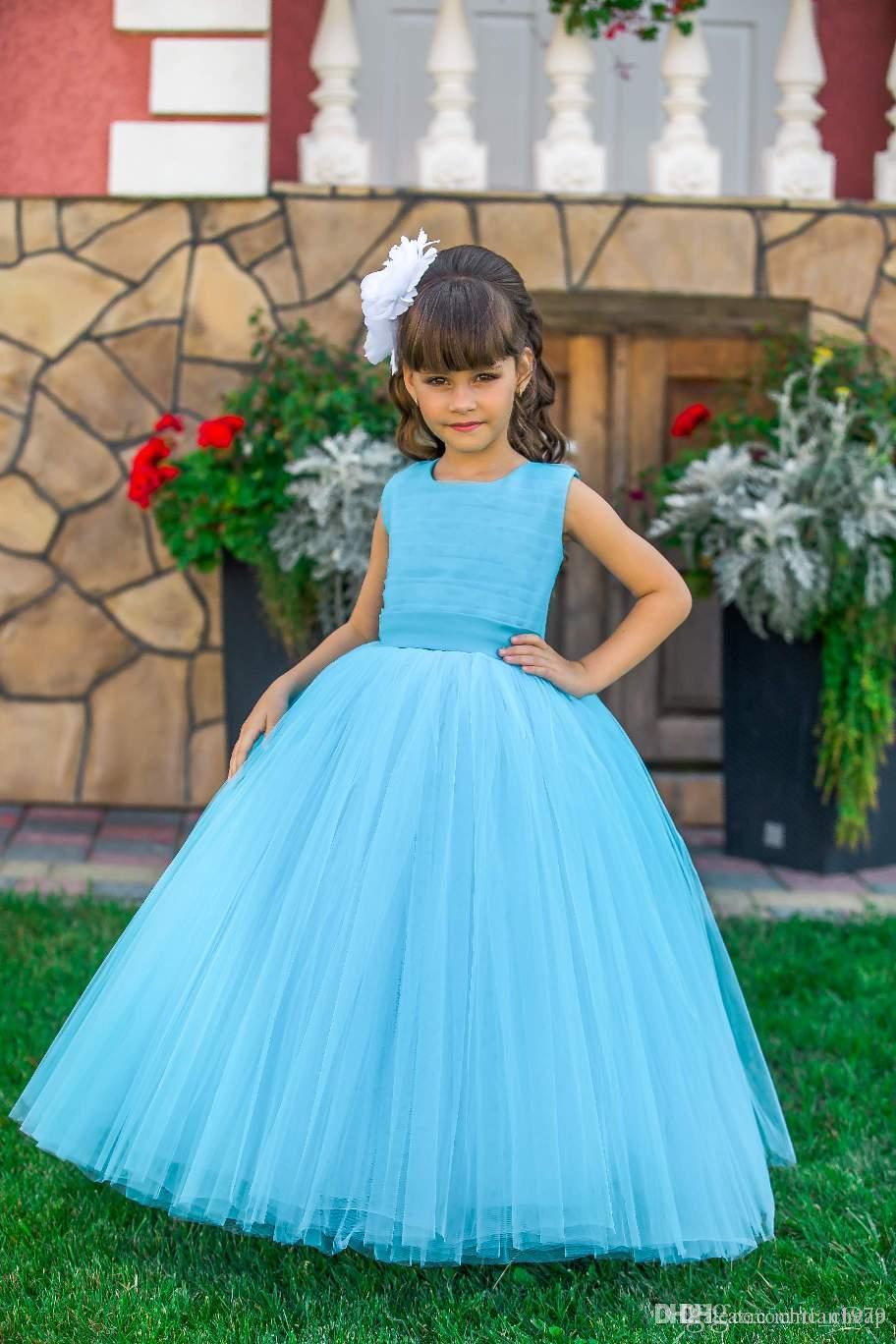 Floral Applique Flower Girls Dresses Correias Cruz Backless Comunhão Partido Vestidos Puffy Tulle aniversário vestido Pageant vestido de baile Meninas