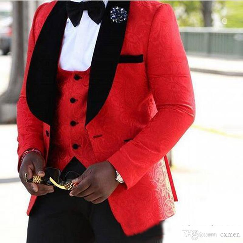 Floral Man Suit Wedding Red Handsome Groom Tuxedos Slim Fit Mens Blazer Suits 3 Pieces (Jacket+Pants+Vest) Custom Made Black Shawl Lapel