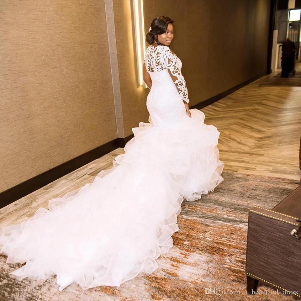 Sexy Plus Size Robes de mariée sirène Robes de mariée manches longues en dentelle de perles en cristal organza Robes robes de mariée