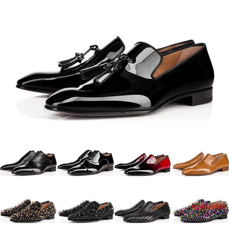 2019 Designer Herren rot mit Böden Schuhe Flache echtes Leder Oxford Schuhe Geschäfts der Frauen der Männer Gehen Hochzeit Größe 38-47 mit