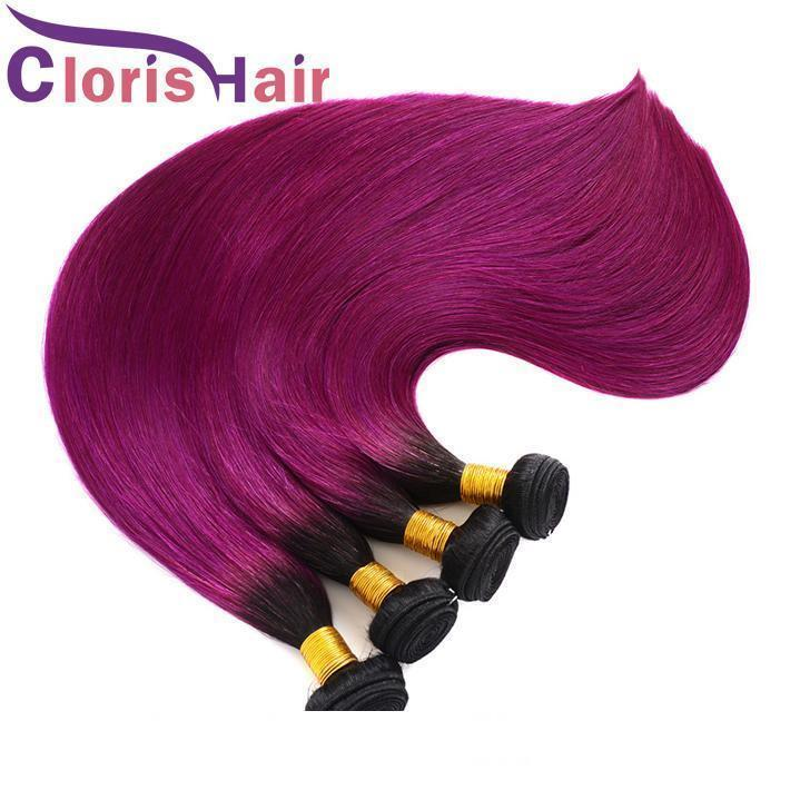 Back To School Sale Raw Indian Virgin Hair Bundles Ombre 1B Purple Silky Straight Human Hair Weaves Two Tone Dark Roots Ombre Extensions
