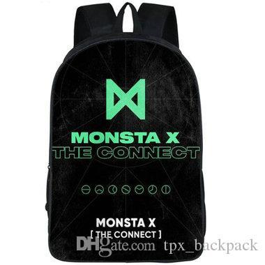 ربط ظهره BTS Monsta X اليوم حزمة رصاصة حقيبة مدرسية Bangtan بنين packsack الصورة حقيبة الظهر الرياضة المدرسية daypack