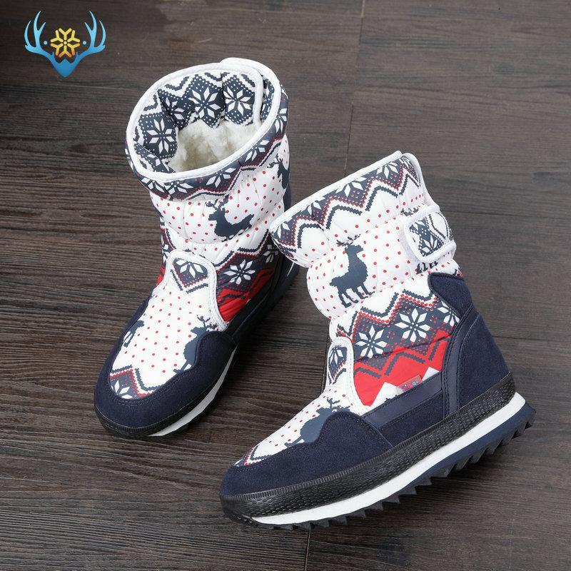 las nuevas much botas de invierno para niños hijos de arranque nieve zapatos de la Navidad piel caliente de lana natural en el interior antideslizante única T191210 libre del envío