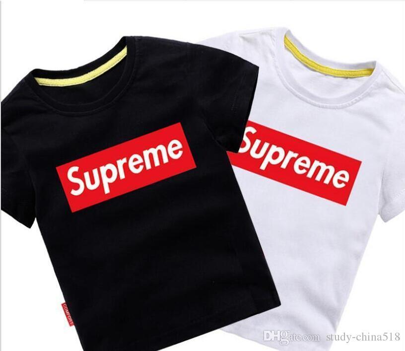 2019New camiseta de moda para niños cuello redondo camisa de manga corta camisa para niños 2019 niñas LOPO camiseta clásica camiseta de algodón