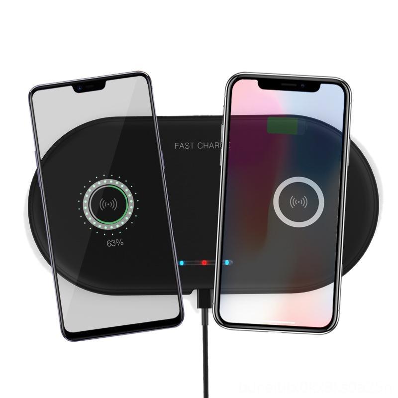 Carregador sem fio AMSDual 10W para iPhone X XS Max Xr Baterias Chargers jogo acessórios Qi Duplo carregamento rápido Station Dock para Samsung G