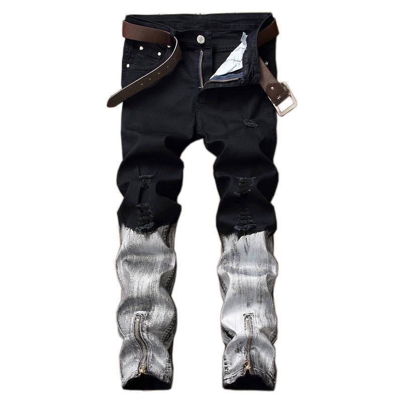 Idopy style punk noir et blanc Hommes Hip Hop Biker Jeans Night Club Slim Fit avec imprimé Pantalon tirettes Joggers pour mieux les hommes