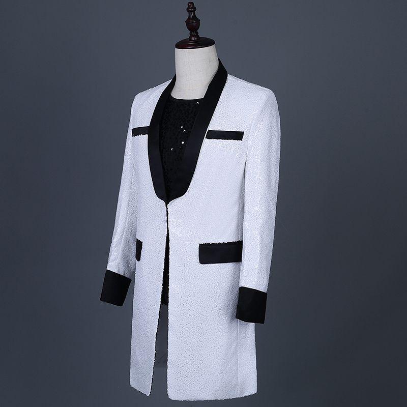 Direct Deal Flut weiß Pailletten lange Blazer Männer Slim Coat Flut Sänger Nachtclub Konzert Kostüm Host Anzug Jacke Mantel