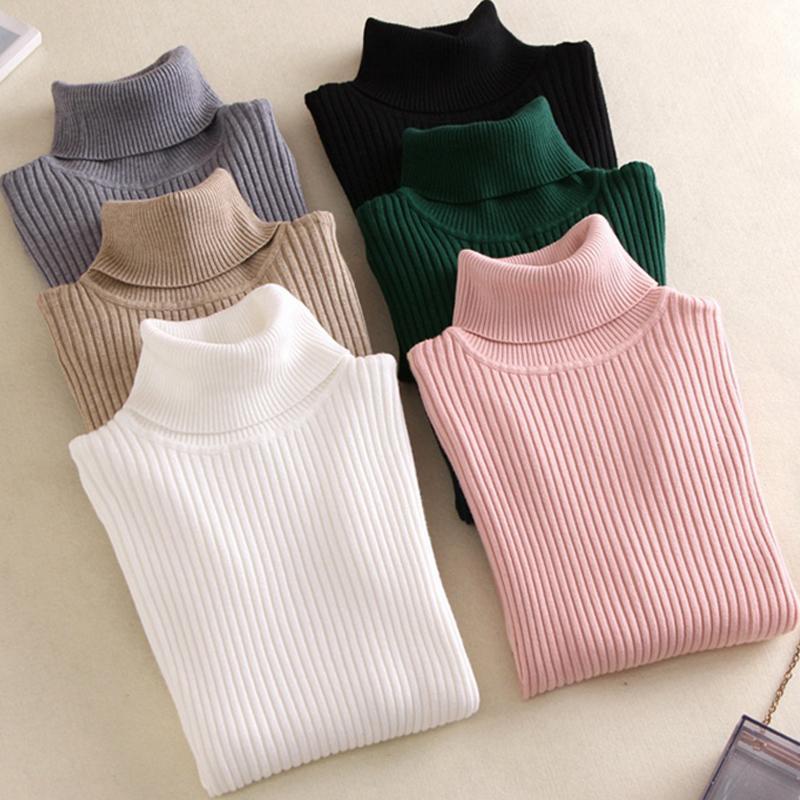 В продаже 2019 Весна женщины трикотажные водолазка свитер повседневная мягкая Поло-образным вырезом перемычка мода тонкий Femme эластичность пуловеры