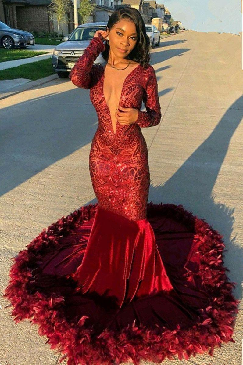 2020 Dark Red V Neck Long Sleeves Feather Mermaid Prom Dresses Sparkling Sequined Lace Sweep Train Formal Party Evening Gowns BC3516