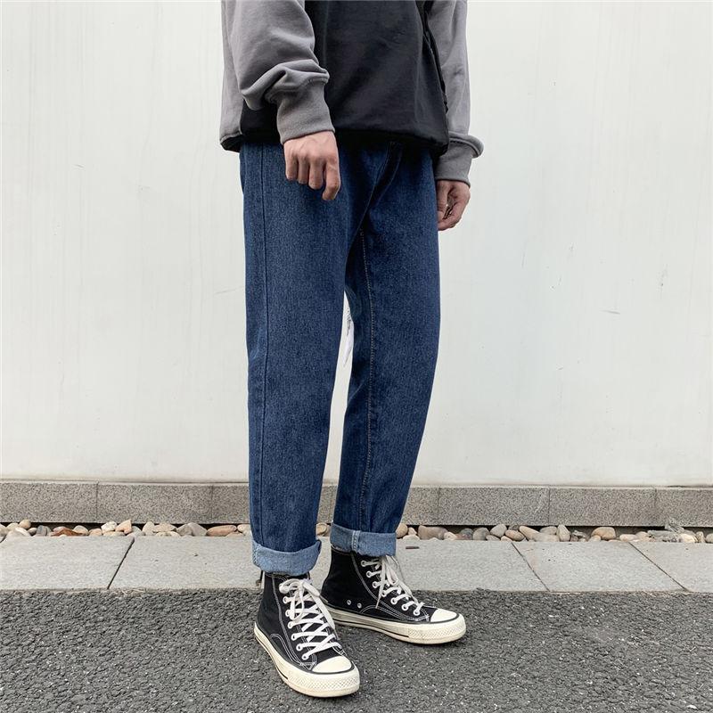 Оптовые 2020 Корейских сплошного цвета джинсов мужских японские случайных широких брюки ноги молодежных неаккуратные красивые свободные прямые брюки шаровар