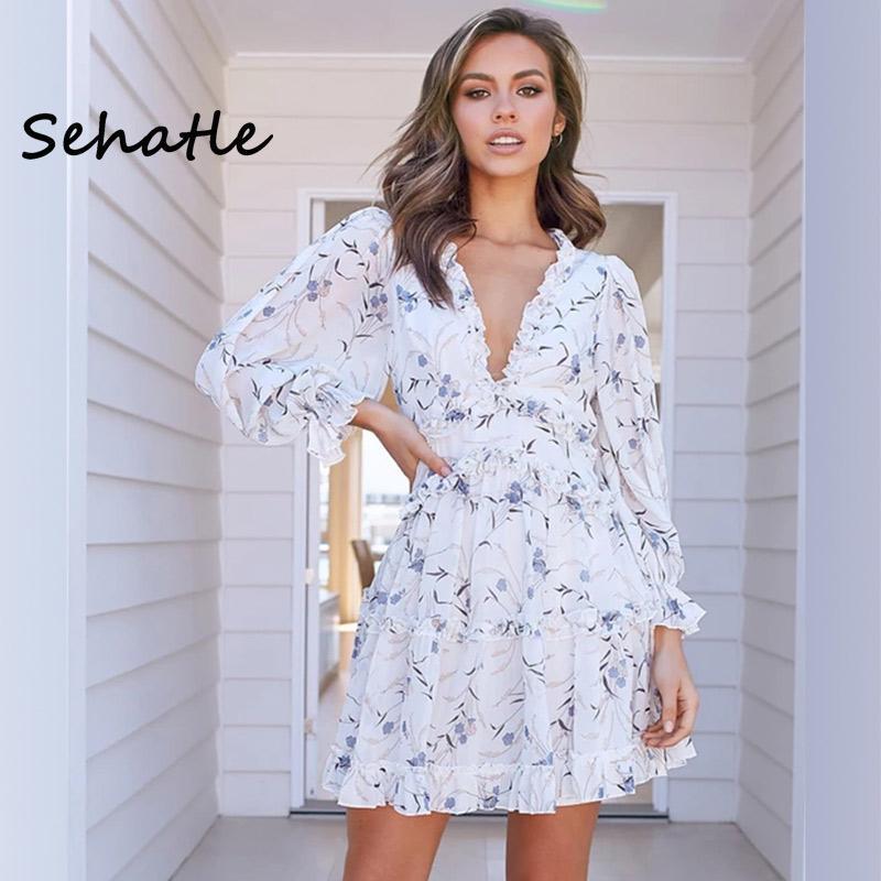 Estate 2020 veste nuova Sehatle mini spiaggia bohemien strada vestito casuale vestiti boho con scollo a V del manicotto della lanterna del poliestere per le donne