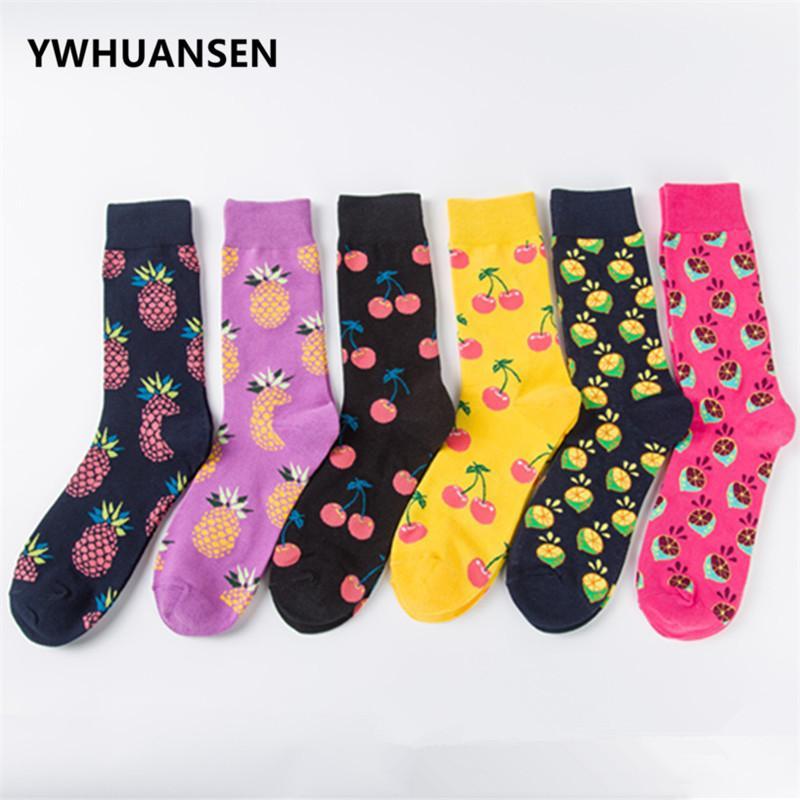 YWHUANSEN 6 Çift / grup Severler Meyve Komik Çorap Erkekler Unisex erkek Pamuk Çorap Moda Erkekler Kadınlar Için Presents Erkek Mal Satışı