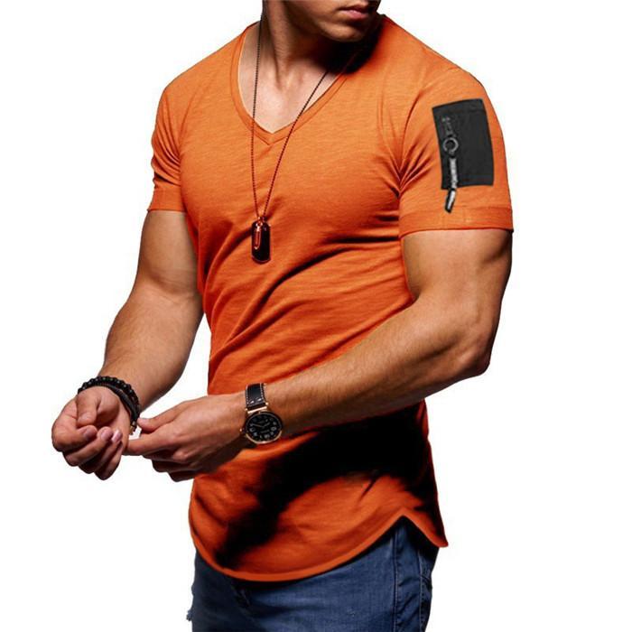 Mens Zipper V-Ausschnitt Designer-T-Shirts Mann Sommer-Kurzschluss-Hülsen-Art und Weise Teess Männer Pullover dünne beiläufige Tops