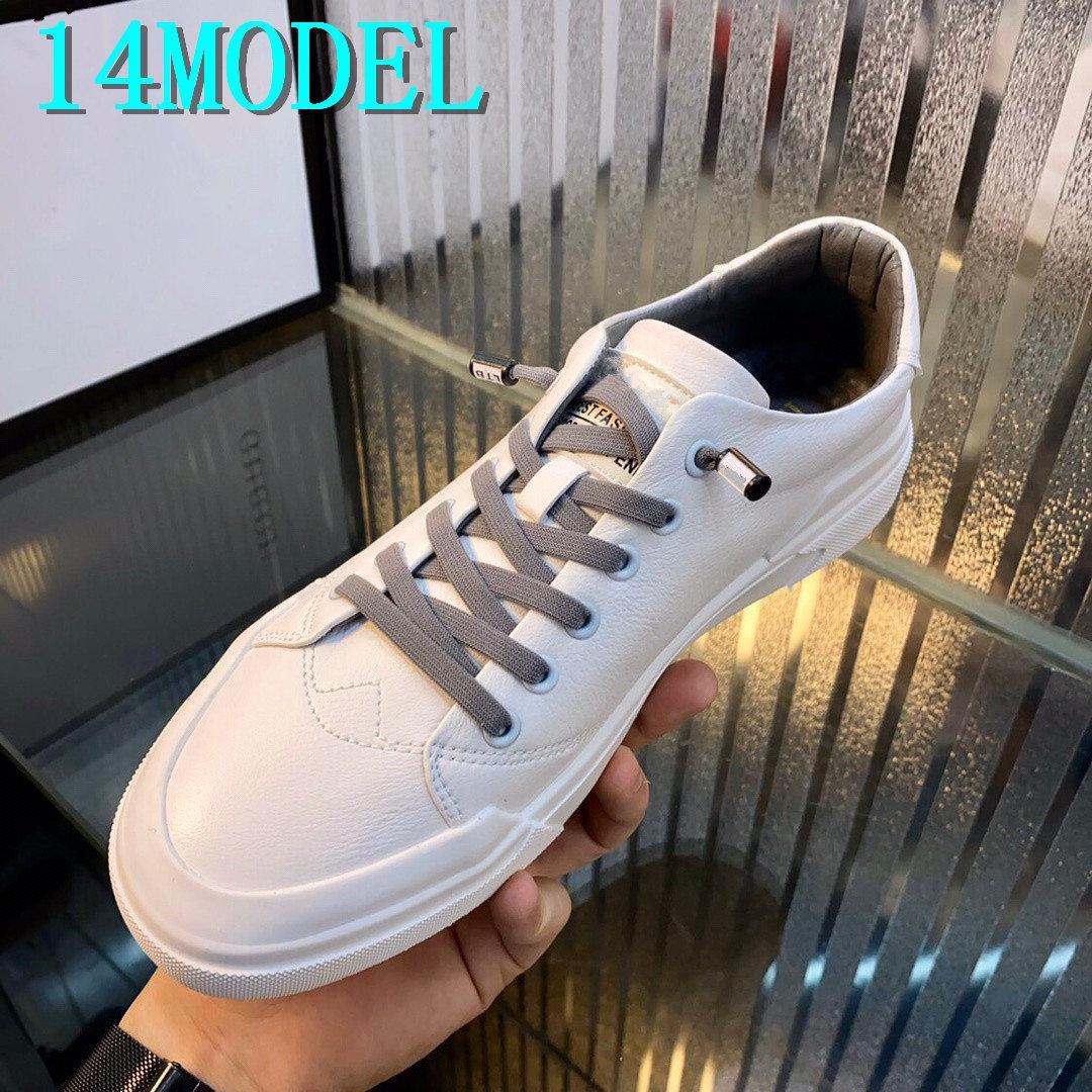 Mocassins Chaussure Homme US6-11 de 20SS Men Casual sapatos brancos de couro sapatas de lona Homens respirável Fashion Shoes Sneakers Loafers Homens