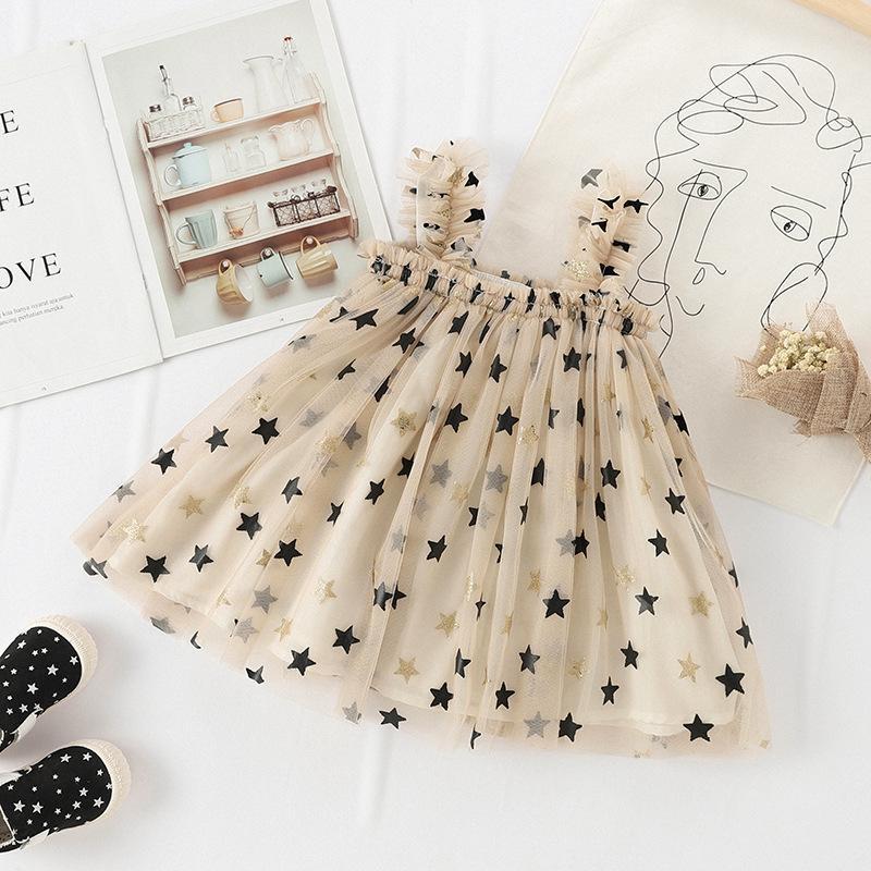 2019 Yeni Çocuk Elbise İçin Kız Moda Sling Bebek Elbise Yıldız Mesh Kolsuz Kız Tutu Elbise Sevimli Prenses Parti Kostümler Y200102