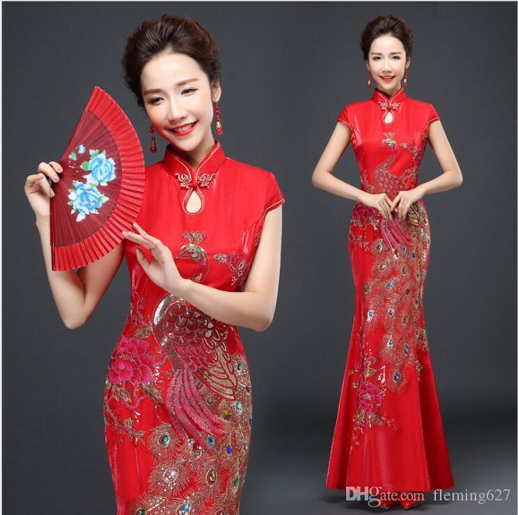 Boda de estilo japonés chino Rojo Modificado Cuerpo delgado Novia Elegante Ropa Cola de pescado Cheongsam Vestido largo Caminar Show Traje