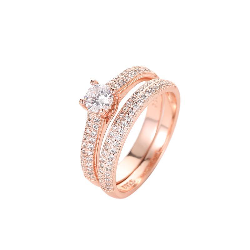 Europa e América Moda Hot Sale Jóias Latão Duplo Row Rhinestone Mulheres Wedding / Set pedaço de cobre Anéis Exquisite Zircon Anel Two