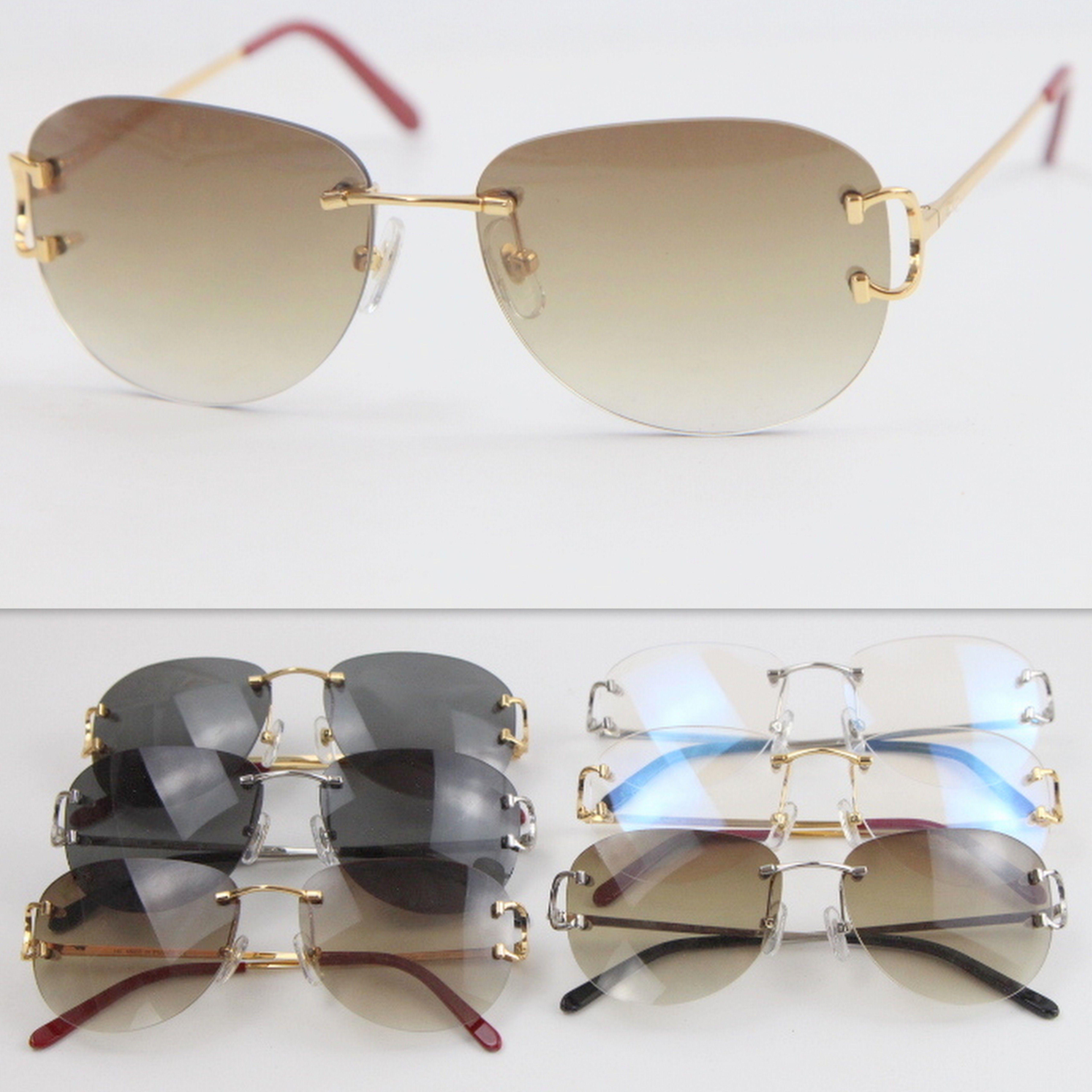 الموضة في النظارات الشمسية UV400 حماية 4193828 بدون إطار نظارات أزياء الرجال شعبية المرأة نظارات الرياضة في الهواء الطلق القيادة نظارات الساخن