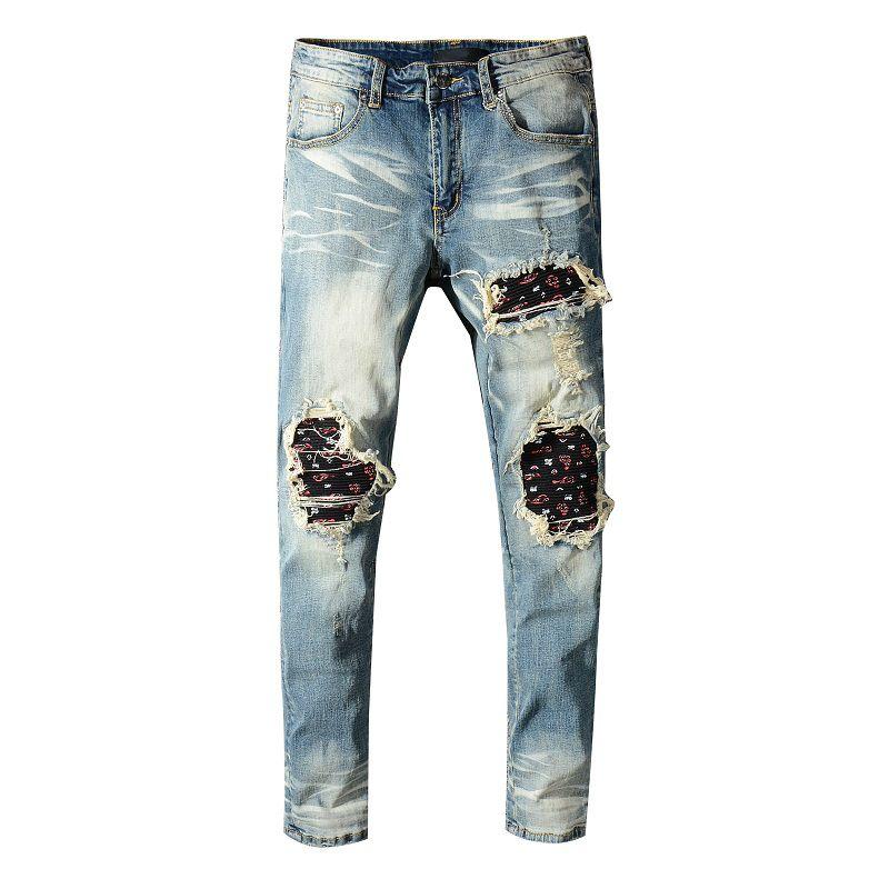 New Jeans Men Blue Casual Skinny Jeans Men Slim Zipper Biker Hip Hop Ripped For Stretch Denim Pants Big Sizes