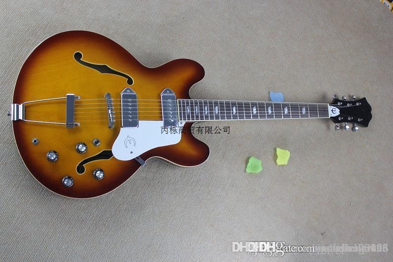 Livraison gratuite 2014 nouvelle 335 couleur coucher de soleil jazz cœur vide VS véritables micros P90 en acier de guitare électrique